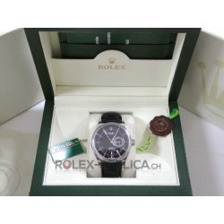 Rolex replica cellini white gold dual time black dial replica orologio