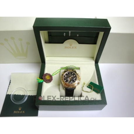 Rolex replica daytona vip oro giallo black dial strip leather imitazione replica orologio
