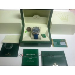Rolex replica daydate white gold blue dial strip lather replica orologio