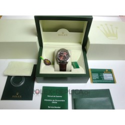 Rolex replica daydate white gold cherry strip lather replica orologio