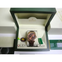 Rolex replica daydate rose gold chocolate strip lather replica orologio