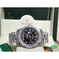 Rolex replica daydate ll white gold black dial diamond bezel strip president replica orologio