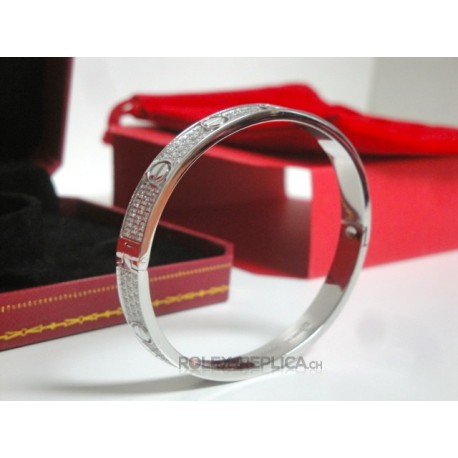 Cartier replica bracciale LOVE oro bianco pavè diamond con kit completo