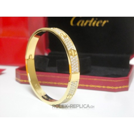 Cartier replica bracciale LOVE oro giallo pavè diamond con kit completo