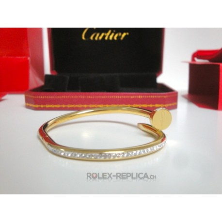 Cartier replica bracciale just on clue yellow gold pavè diamond con kit completo