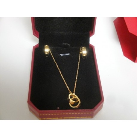 Cartier replica collier complet di orecchini love yellow gold con kit completo