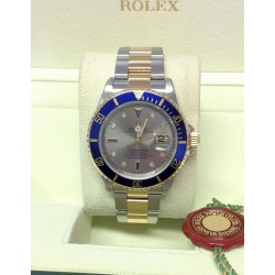 Rolex replica submariner date 16613 bi-colour serti blue dial
