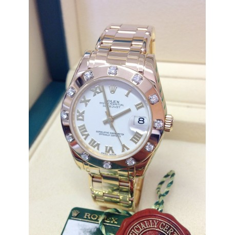 Rolex replica Pearlmaster 34mm 81318 Yellow Gold