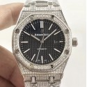 Audemars piguet replica royal oak 41mm white gold full paved diamonds black dial